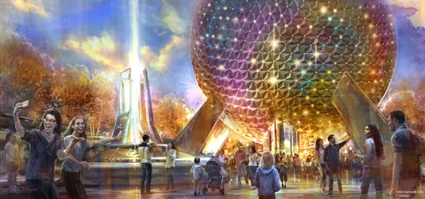 The park's entrance will be transformed with a reimagined fountain, new pathways, and sweeping green spaces that beautify the entryway while paying homage to the origins of Epcot. Photo credits (C) Disney Enterprises, Inc. All Rights Reserved