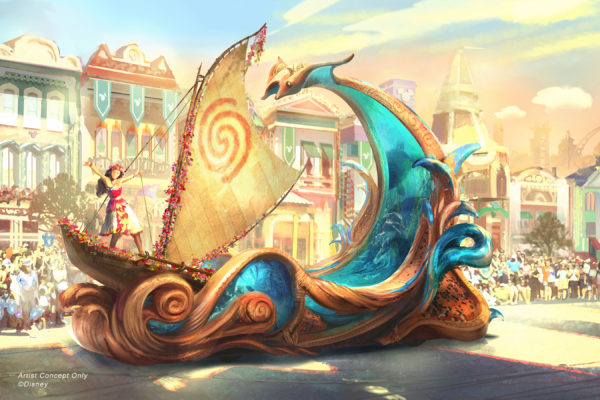 Concept art for the Moana float in Magic Happens. Photo credits (C) Disney Enterprises, Inc. All Rights Reserved