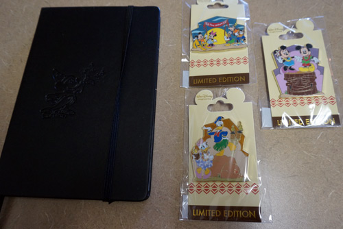 The prize pack includes three limited edition trading pins and a blank Imagineering notebook in black.