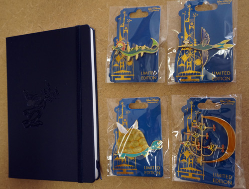 One luck winner will get all four limited edition trading pins and an Imagineering notebook.