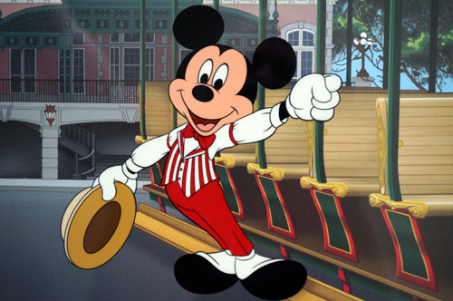 Mickey looks good in a red and white striped vest.