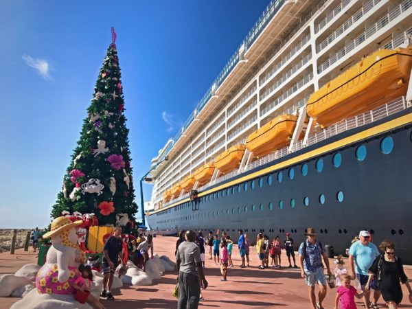 This tropical themed Christmas tree welcomes you to Castaway Cay!