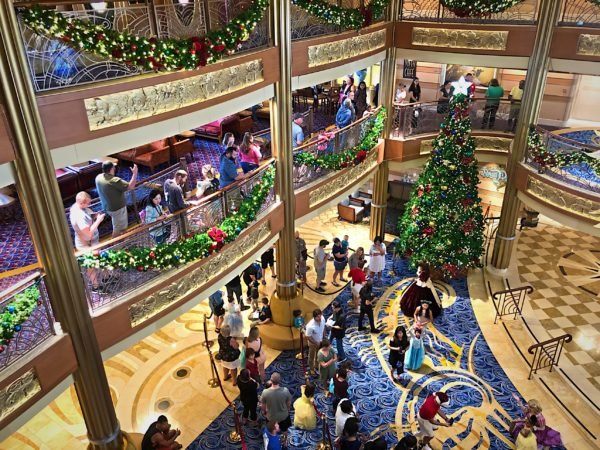 The whole ship was decorated with garland, Christmas trees, poinsettias, and lights! The atrium is the center of much of the fun.