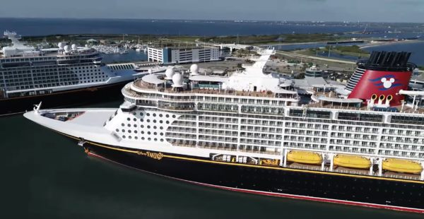 The Disney Fantasy is currently docked. Photo credits (C) Facebook/Port Canaveral. All Rights Reserved