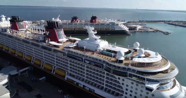 It is not often you see so many Disney ships together. Photo credits (C) Facebook/Port Canaveral. All Rights Reserved