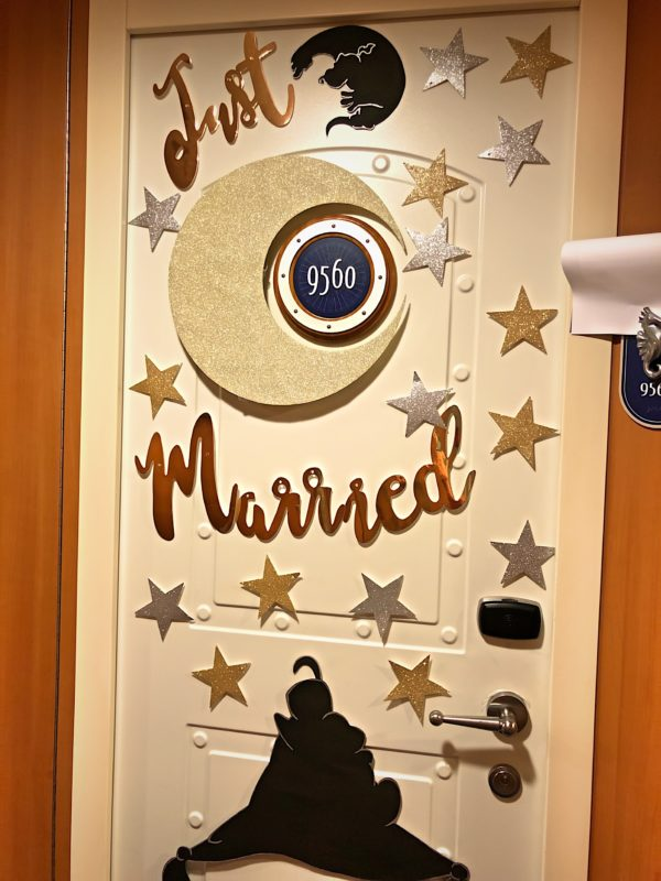 This couple is celebrating their honeymoon aboard the Disney Dream!