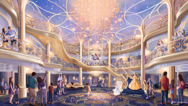 The three-story atrium of the Disney Wish is inspired by an enchanted fairytale. Photo credits (C) Disney Enterprises, Inc. All Rights Reserved
