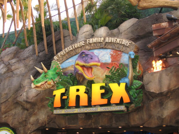 The designated smoking area near T-Rex has been removed.