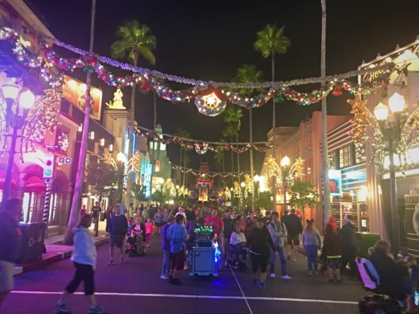 The spirit of Christmas is front and center looking down Hollywood Boulevard.
