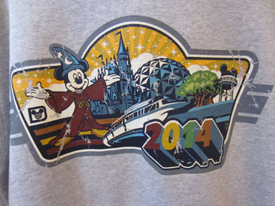This 2014 shirt with Mickey Mouse has a bit of a retro feel.