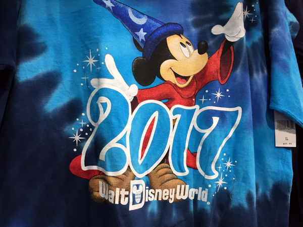 "This blue tiedyed shirt is fun with Soccer Mickey and ""2017"" prominently featured."