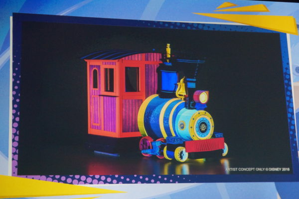 This is a 3D vehicle from Mickey and Minnie's Runaway Railway made to appear 2D.