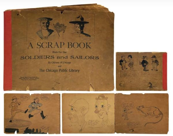 Walt Disney's personal World War I sketchbook from 1918 - 1919 is expected to sell for up to $100,000.  Photo from Van Eaton Galleries.