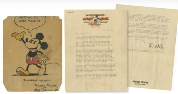 Letter signed by Walt Disney on Studio stationary, expected to sell for up to $10,000.  Photo from Van Eaton Galleries.
