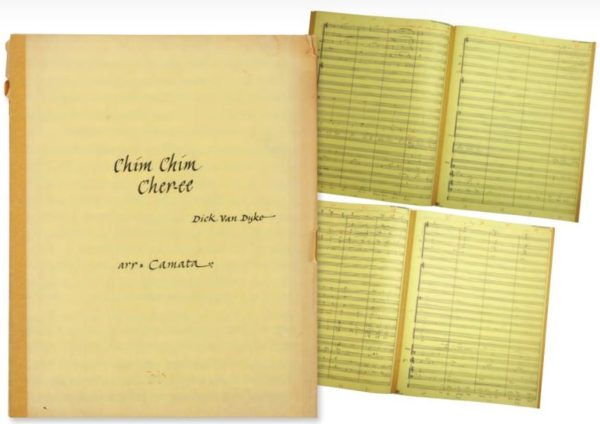 "Musical arrangement of the song ""Chim Chim Cher-ee"" for Dick Van Dyke may sell for $2,000.  Photo from Van Eaton Galleries."