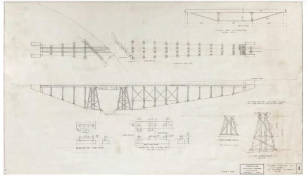 Artwork for the Carolwood Pacific Railroad bridge - Walt's railroad - may sell for $9,000.  Photo from Van Eaton Galleries.