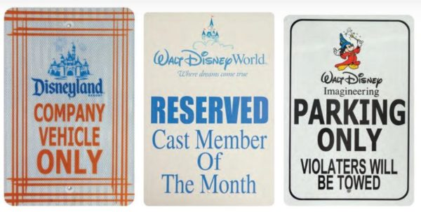 Parking signs from Disneyland, Walt Disney Wolrd, and Imagineering may sell for up to $500.  Photo from Van Eaton Galleries.