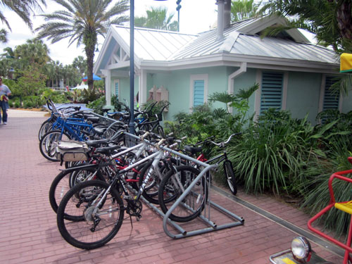 Disney offers plenty of places to rent bikes - like at Old Key West.