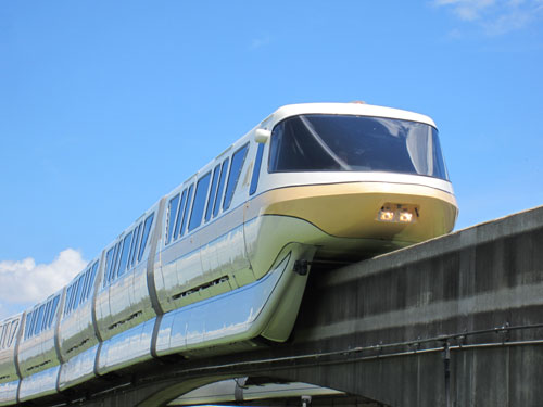 Enjoy the Magic Kingdom area resorts in style via the monorail.