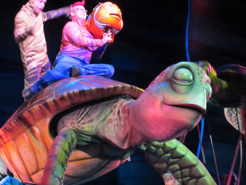 Disney didn't manufacture Crush, the turtle puppet in Finding Nemo - The Musical.
