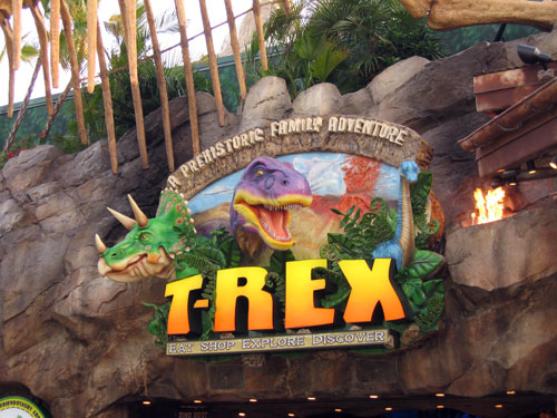 T-Rex provides American food in a fun atmosphere.