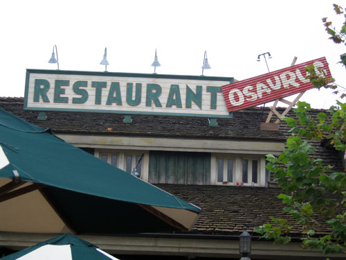 Look for all the gags around Restaurantosaurus.
