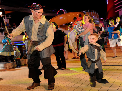 On select nights the Disney Dream hosts Pirate parties - great fun for all! Photo credits (C) Disney Enterprises, Inc. All Rights Reserved