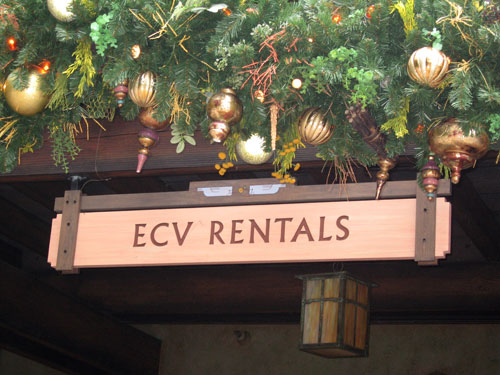 Disney offers ECV rental on a first-come, first-served basis.