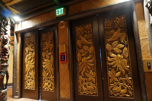 The theater has great detail, including the intricate carvings on the doors.