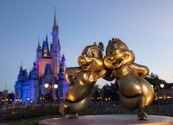 Chip 'n' Dale golden character sculptures in the Magic Kingdom. Photo credits (C) Disney Enterprises, Inc. All Rights Reserved