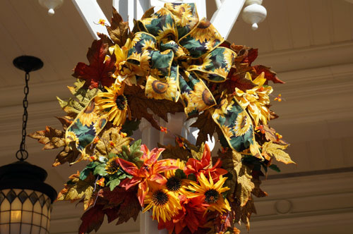 You can find these fall wreathes around the park.