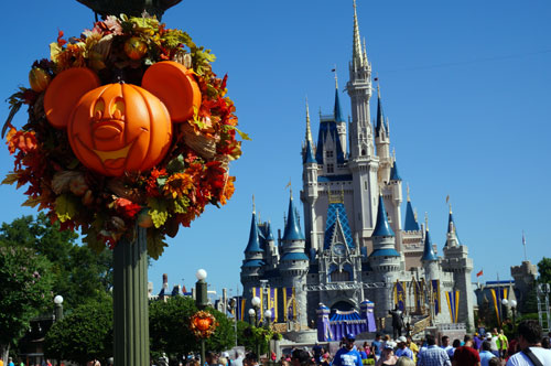 No orange on the Castle, but certain views allow a mix of the fall season.