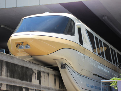 Huge Disney fans ride the monorail, even if they don't have to.