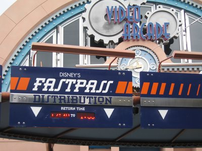 Here is an example of the FastPass distribution location for Space Mountain.
