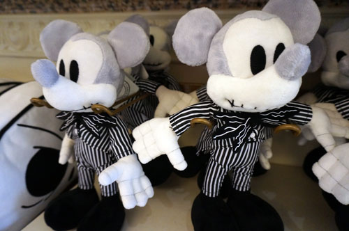 Plush Mickey Mouse as Jack Skellington.