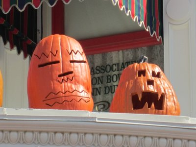 Everywhere you look up on Main Street you see carved pumpkins.