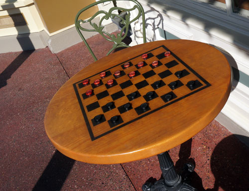 I love this table outside The Chapeau shop where you can play checkers.