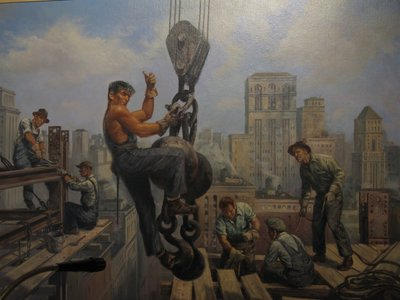 This is a photo of a painting of construction a worker from the lobby of The American Adventure. Construction is very American. But what about maintenance?