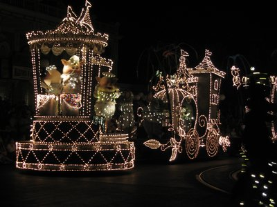 Timing, lighting, music, and parade floats all come together in perfect timing in a Disney parade.