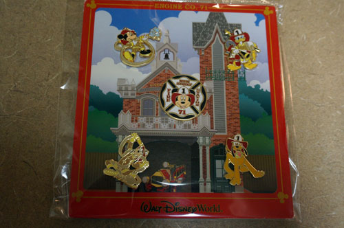 This set of pins celebrates Engine Company 71 and the Fire House on Main Street USA in the Magic Kingdom.