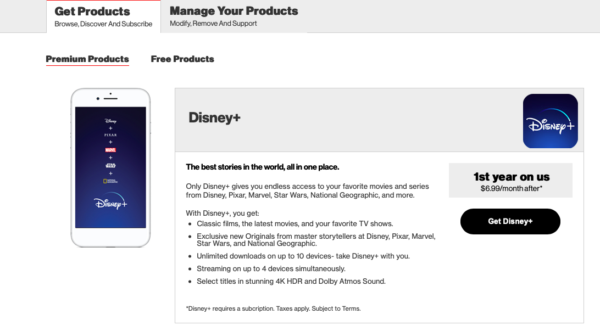 "After signing into your Verizon account, just click ""Get Disney+""."