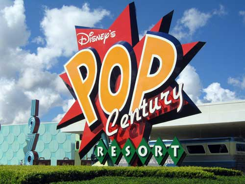 Like everything in the Disney Value Resorts, the entrance sign to Disney's Pop Century is big, colorful, and fun.