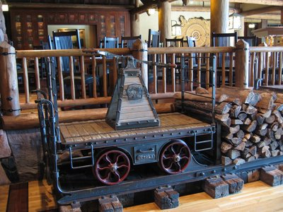 Trains are everywhere at Disney World. You can see this hand railroad cart in the Wilderness Lodge.