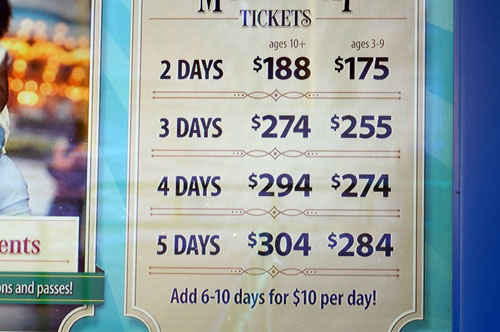 Disney raises ticket prices.  These are the old prices from January, 2015.