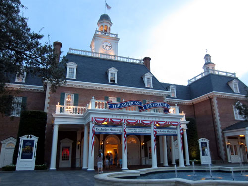 When facing the American Adventure, check out the restrooms to the right.