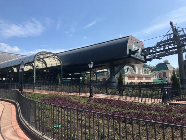 Each Skyliner station, like this one at Epcot, is beautifully designed and fits the look of its surroundings.