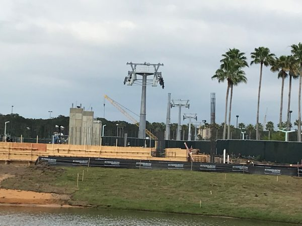 Construction of the Hollywood Studios gondola load platform is just now going vertical.