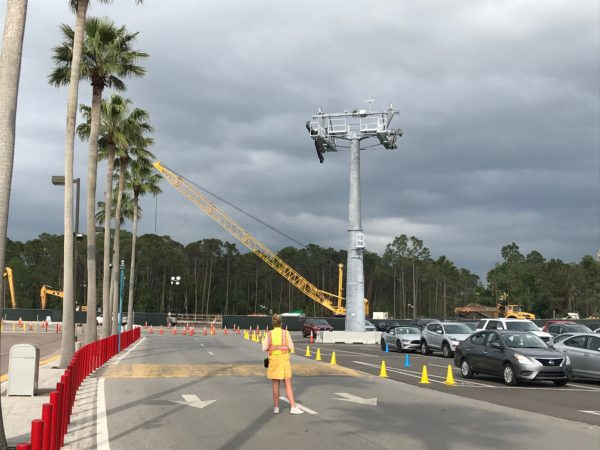 Skyliner support tower near the rear of the Disney's Hollywood Studios parking lot.