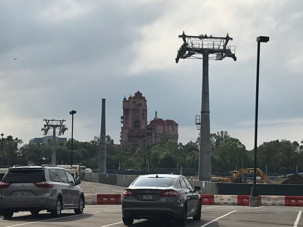 Tower of Terror in the background and support towers in the parking lot.