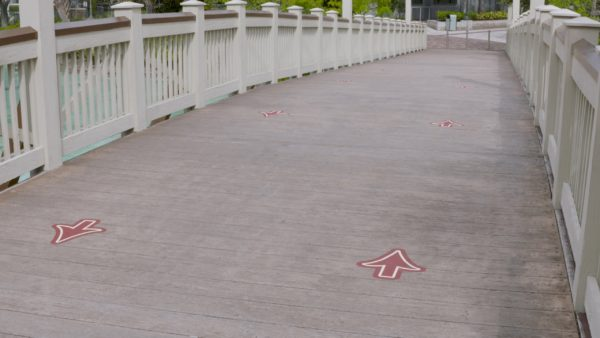 Disney Springs has directional arrows to keep pedestrian traffic moving in the same direction. Photo credits (C) Disney Enterprises, Inc. All Rights Reserved